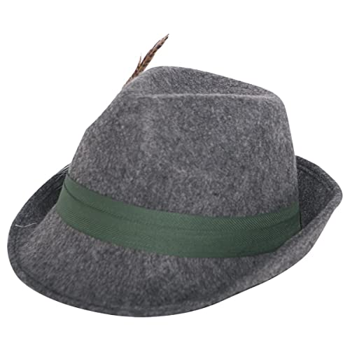 Hat Tyrolean Wool with Feather, Woollen Trilby Hat