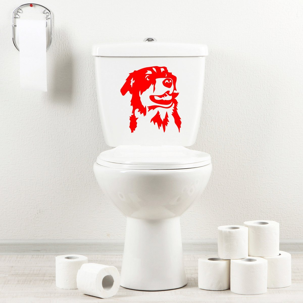 StickAny Bathroom Decal Series Australian shepherd 3 Sticker for Toilet Bowl, Bath, Seat (Blue)