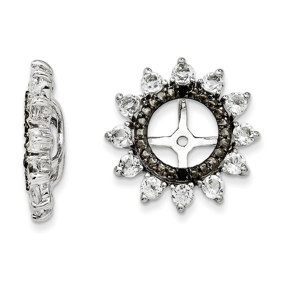 Sterling Silver Rhodium-plated White Topaz and Black Sapphire Earrings Jacket