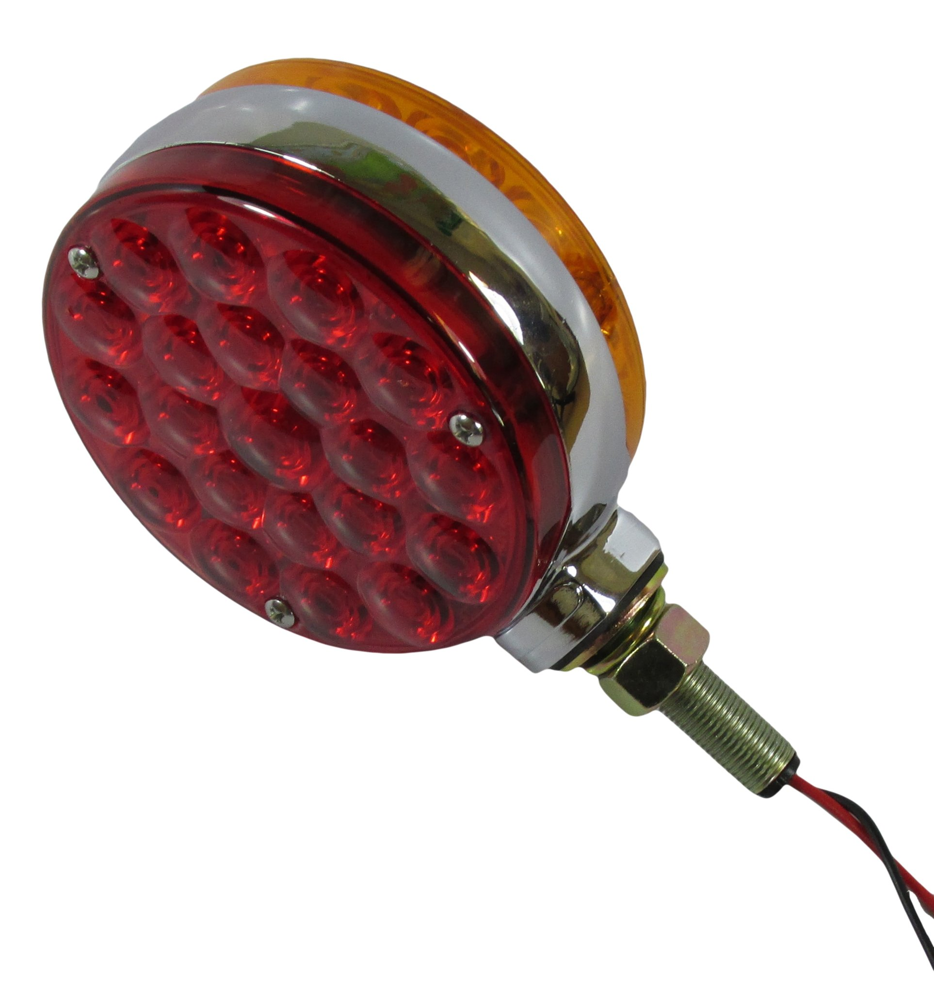 Kaper II Fender/Turn Light 4'' round, 2-sided, amber/red; 21 diode each side, pedestal mountconnection:3 bare wirespecial:double-face lollipop tested voltage:12.8 Volts.