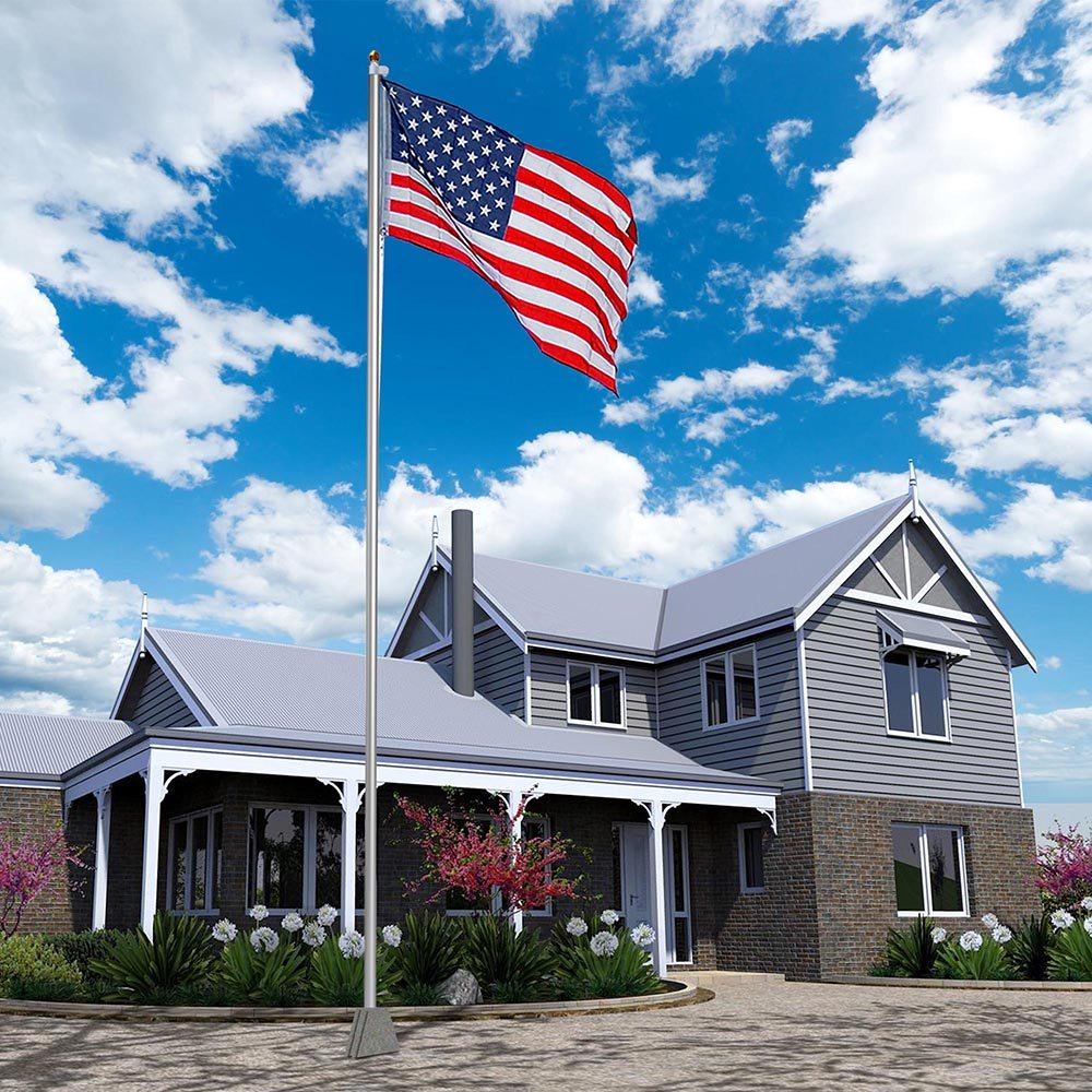 Yeshom 30 FT Upgraded Sectional Aluminum Flagpole 15 Gauge 24-30mph 3'x5' US American Flag Ball Fly 2 Flags Outdoor by Yeshom (Image #4)