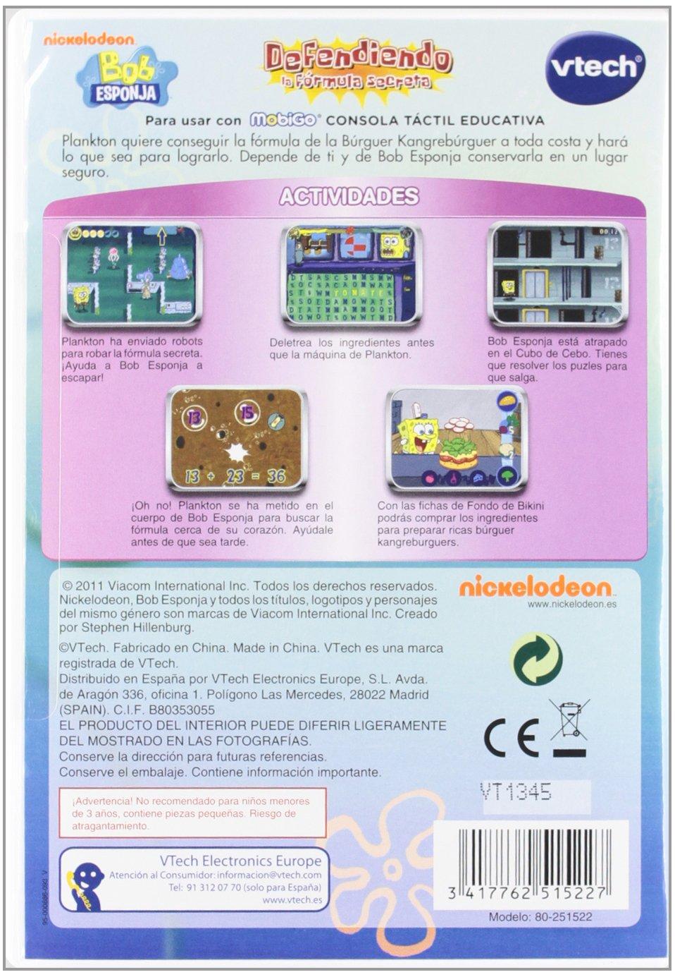 Amazon.com: Vtech Spanish - Vtech Juego MobiGo Spongebob - En Español: Toys & Games