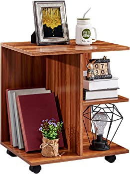 GreenForest Nightstand & Storage Shelf w/ Moveable Wheels