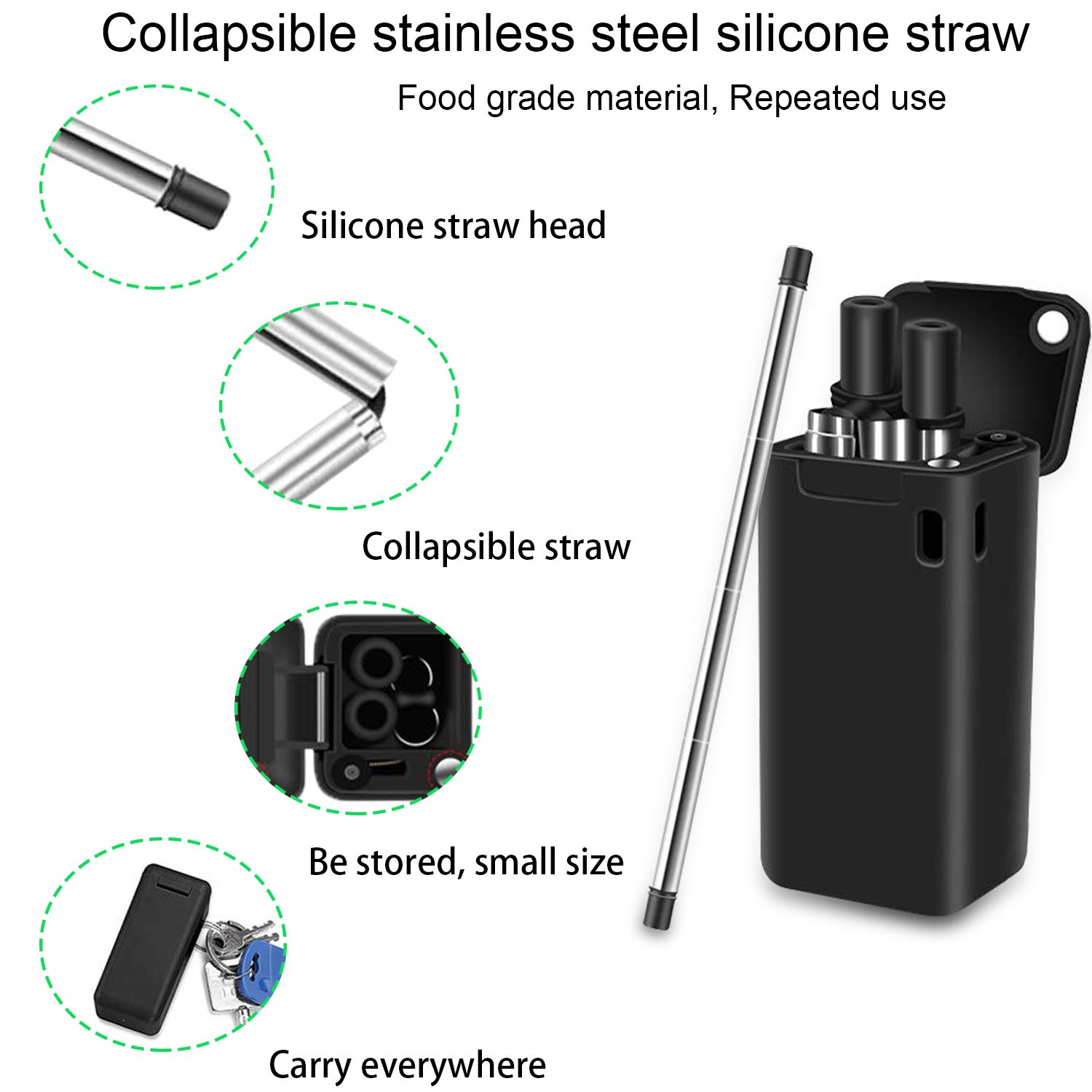 Collapsible Reusable Straws Premium Food-Grade Foldable Silicone Collapsible Straw Stainless Steel Drinking Straws Portable Set with Hard Case Holder and Cleaning Brush