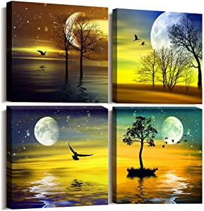 4 piece Framed Canvas Wall Art for Living Room Bedroom wall Decoration, modern office kitchen Wall Artworks restaurant bathroom Wall decor four seasons sun Landscape painting posters Home Decor