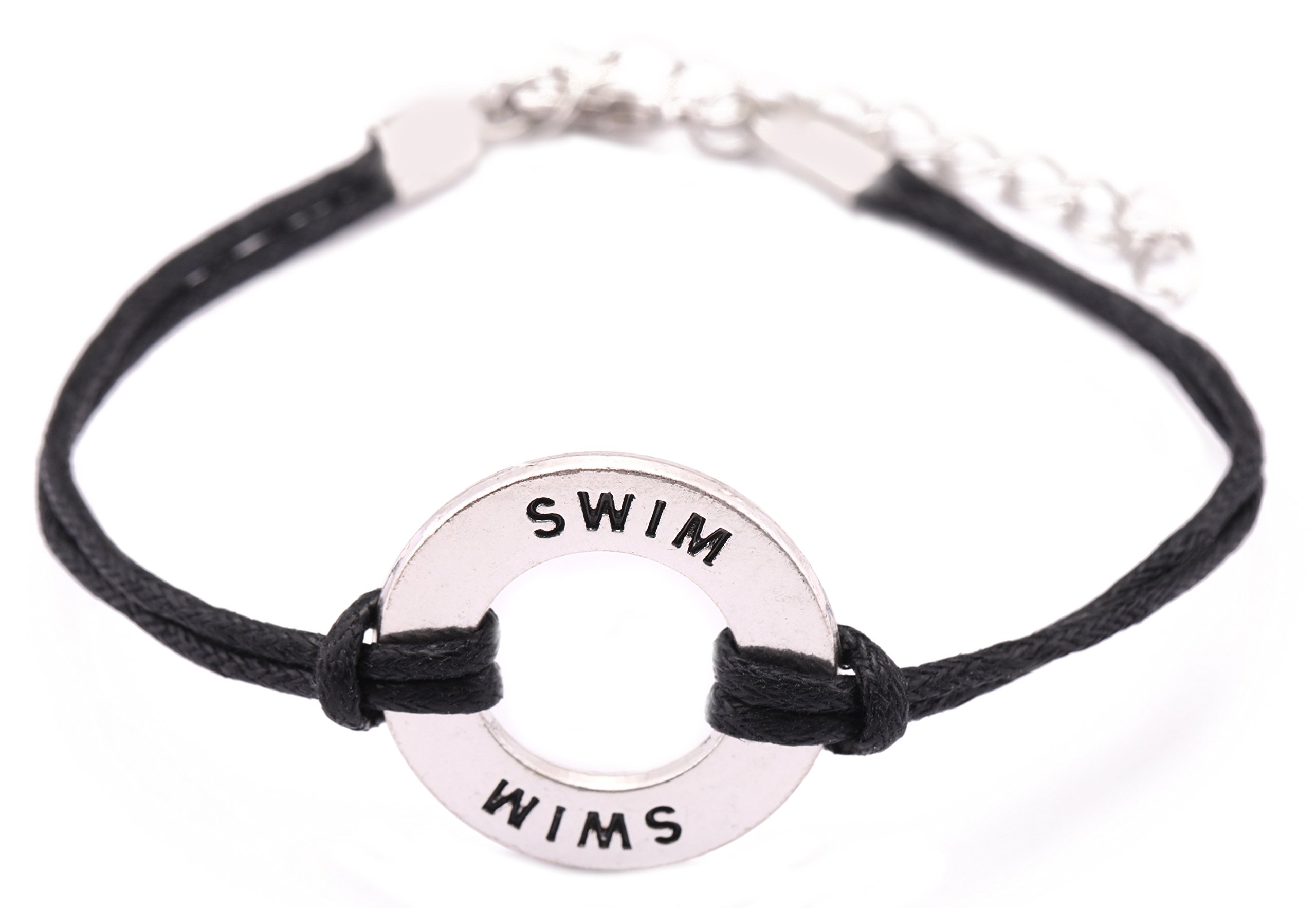 Teamer Adjustable Wax Cord Bracelet Message Swim Charm Sports Jewelry for Woman/Man Best Gifts
