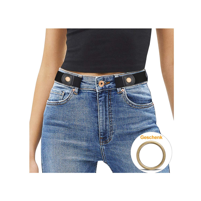 JasGood Schnallenfrei Damen Stretch Elastischer Gürtel für Damen/Herren, Plus Size Keine Schnalle Unsichtbare Gürtel für Jeans Hosen …