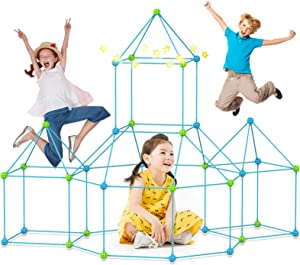 BST Fort Building Kits 130-Piece Kids Construction Fort Play Tent Fort Kit Fun STEM Toys Flexible Construction DIY Building Castles Tunnels Play Tent Rocket Tower Indoor & Outdoor