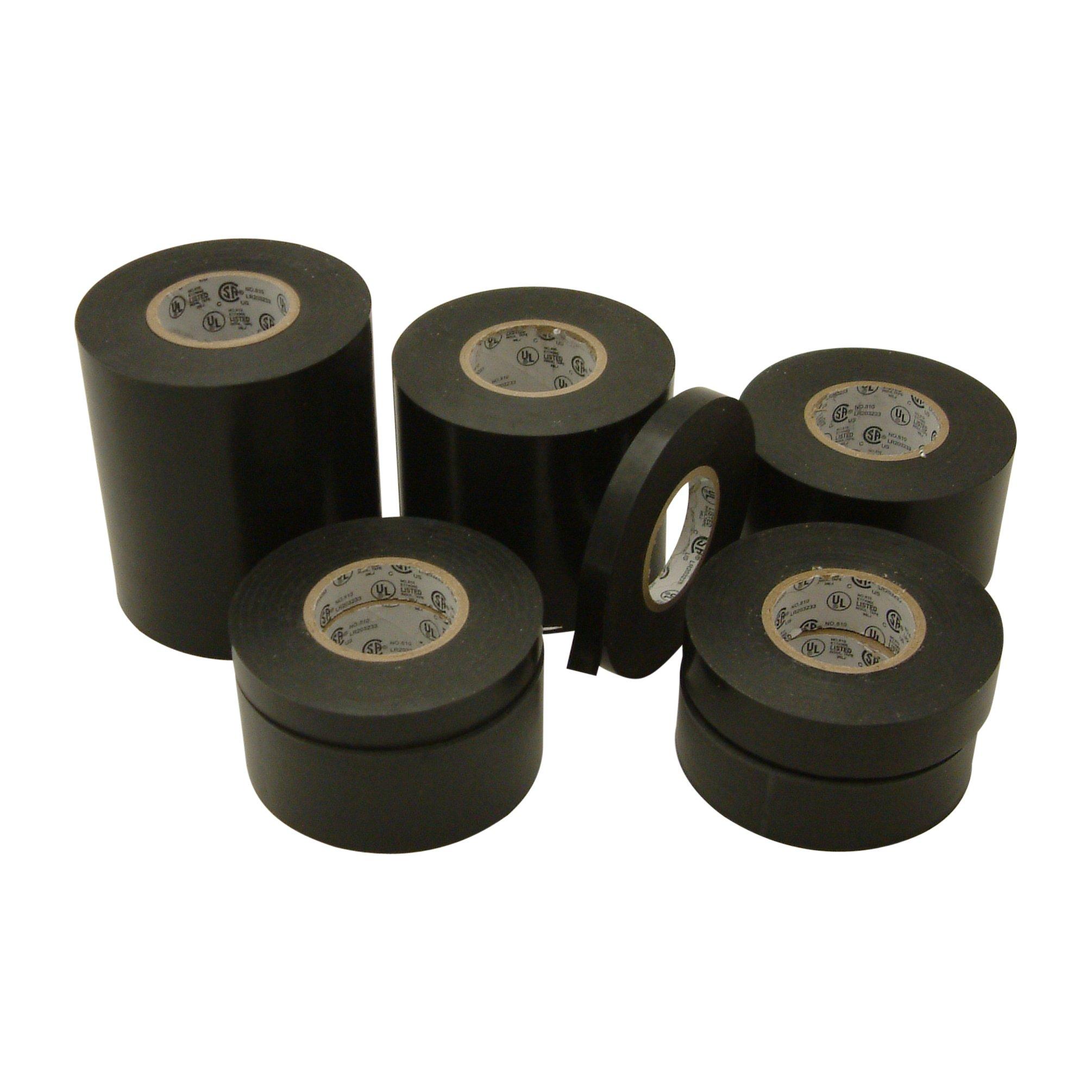 J.V. Converting EL7566-AW/BLK422 JVCC EL7566-AW Premium Grade Electrical Tape, 66' Length x 4'' Width, black