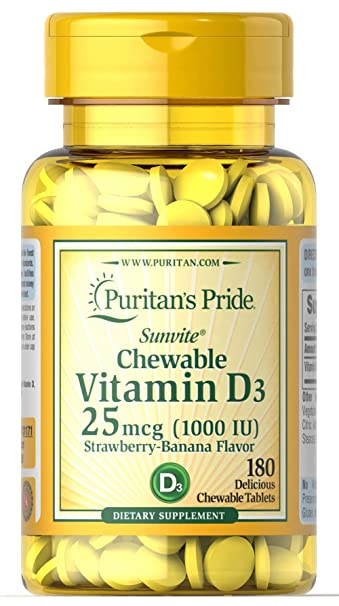 Puritans Pride Chewable Vitamin D3 25 mcg (1000 IU)-180 Tablets