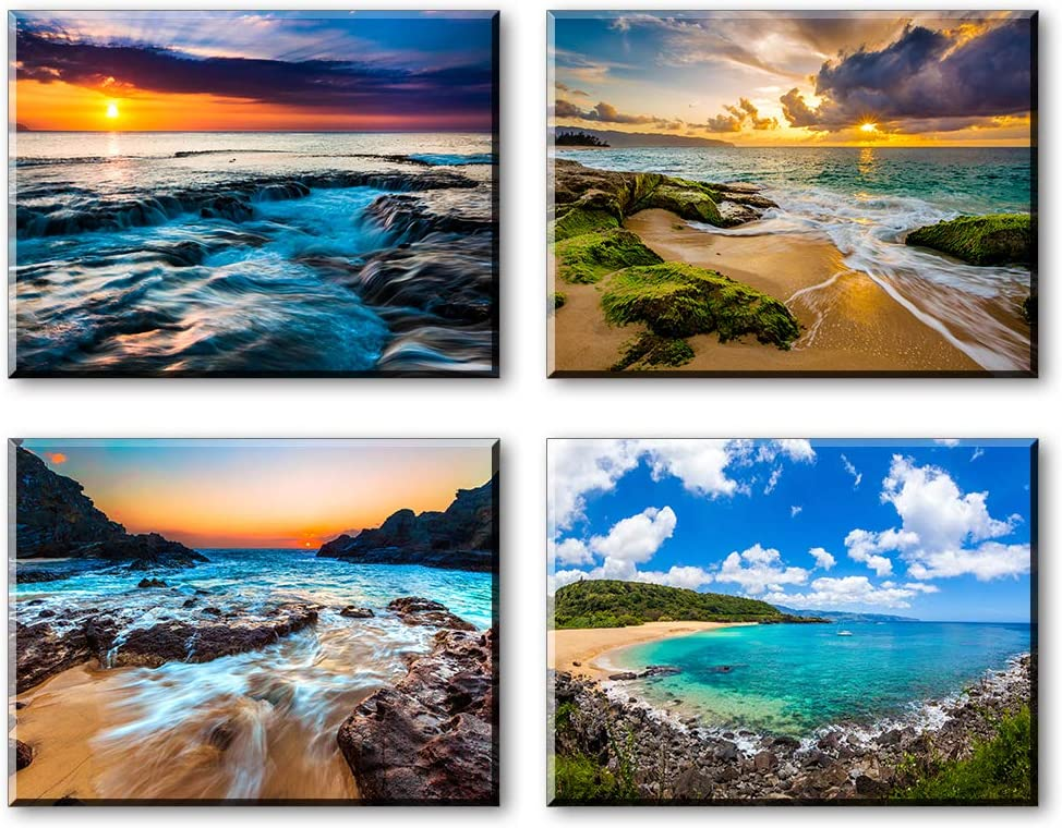 """Piy Painting Romantic Beach Wall Art Decor for Bedroom, 4 Piece Romance Sunset Reefs Seaside Canvas Print Pictures (1"""" Thick, Waterproof Artwork, Bracket Mounted Ready to Hang)"""