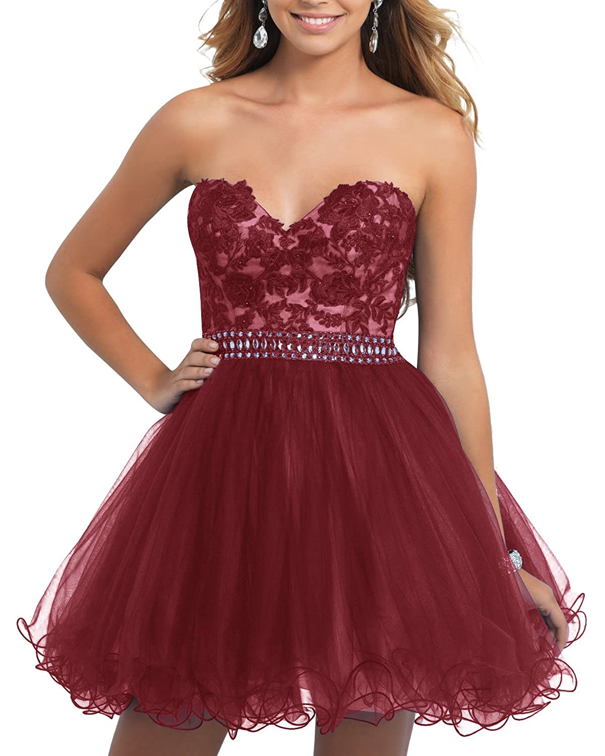 Bridesmay Short Tulle Prom Dress Sweetheart Bridesmaid Party Dress with Beads