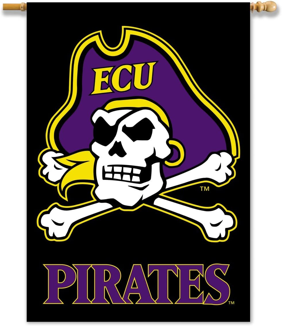 NCAA East Carolina Pirates 2-Sided 28-by-40 inch House Banner ECU with Black Background with Pole Sleeve