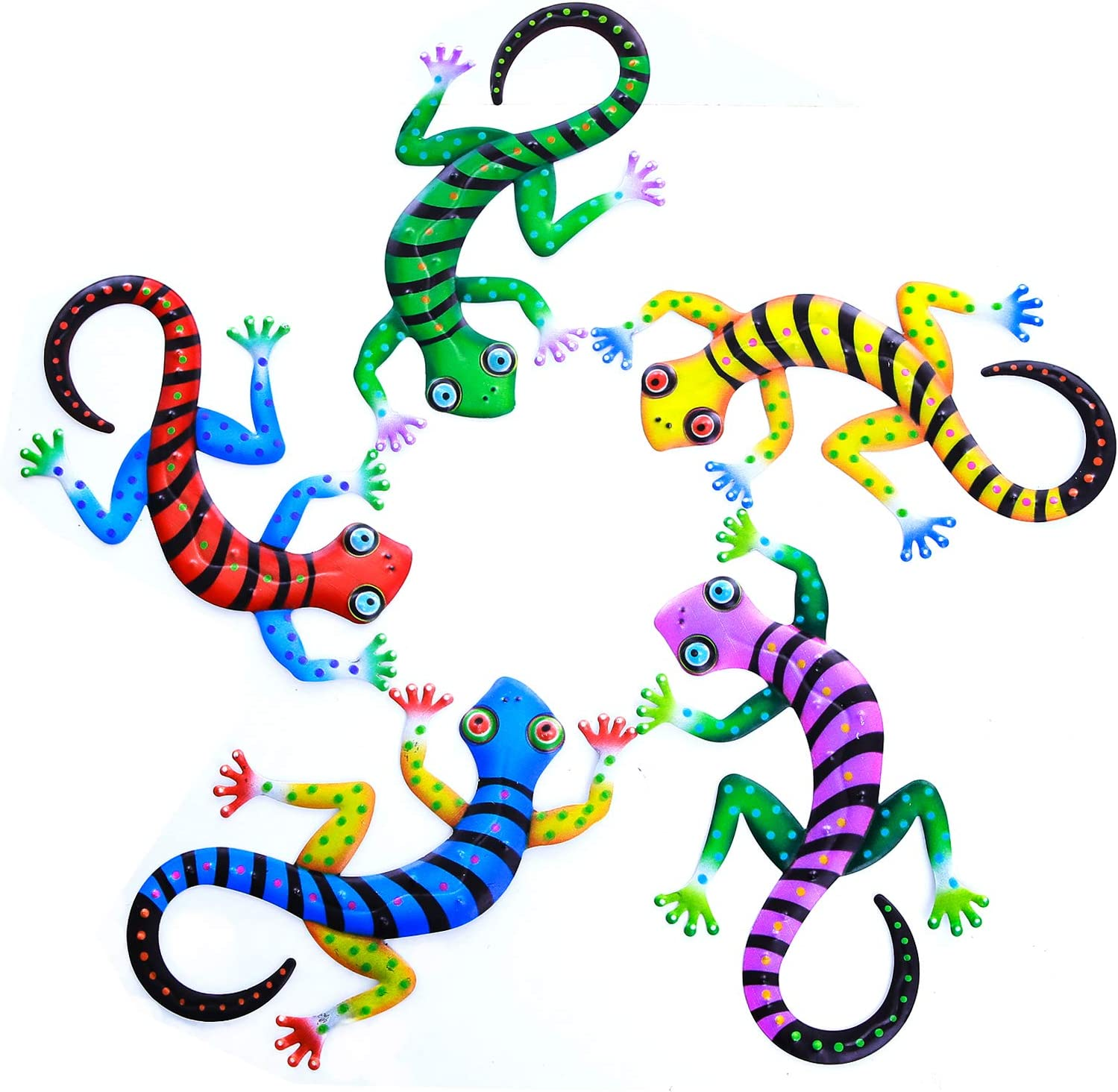 PUENUO Metal Gecko Wall Decor Art Set of 5 Hanging for Outdoor Backyard Porch Home Patio Lawn Fence Decorations Wall Sculptures