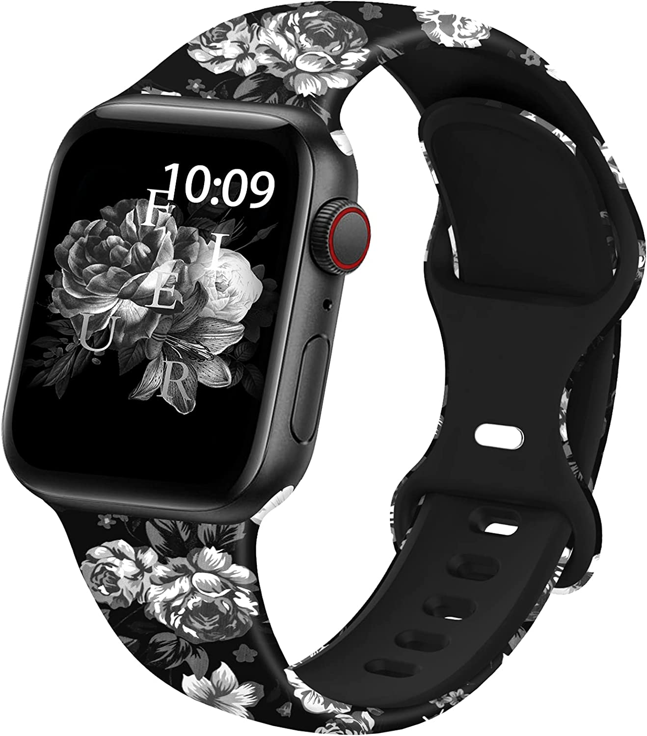 moencase Sport Band Compatible with Apple Watch Bands 38mm 40mm 42mm 44mm for Women Men, Floral Printed Fadeless Pattern Silicone Replacement Strap Band for iwatch SE/Series 6/5/4/3/2/1