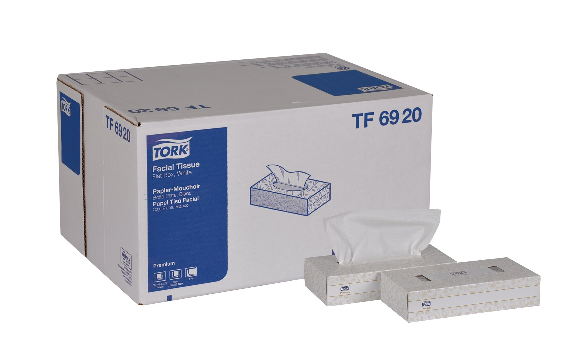 Tork Premium TF6920A Facial Tissue, Flat Box, 2-Ply, 8.0'' Width x 8.0'' Length, White (Case of 30 Boxes, 100 per Box, 3,000 Sheets)