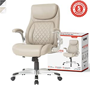 NOUHAUS +Posture Ergonomic PU Leather Office Chair. Click5 Lumbar Support with FlipAdjust Armrests. Modern Executive Chair and Computer Desk Chair (Taupe)