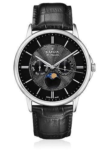 Edox 40002 3 NIN - Reloj de Pulsera para Caballeros (analógico, Cuarzo), diseño de Luna, Fecha y Hora: Amazon.es: Relojes