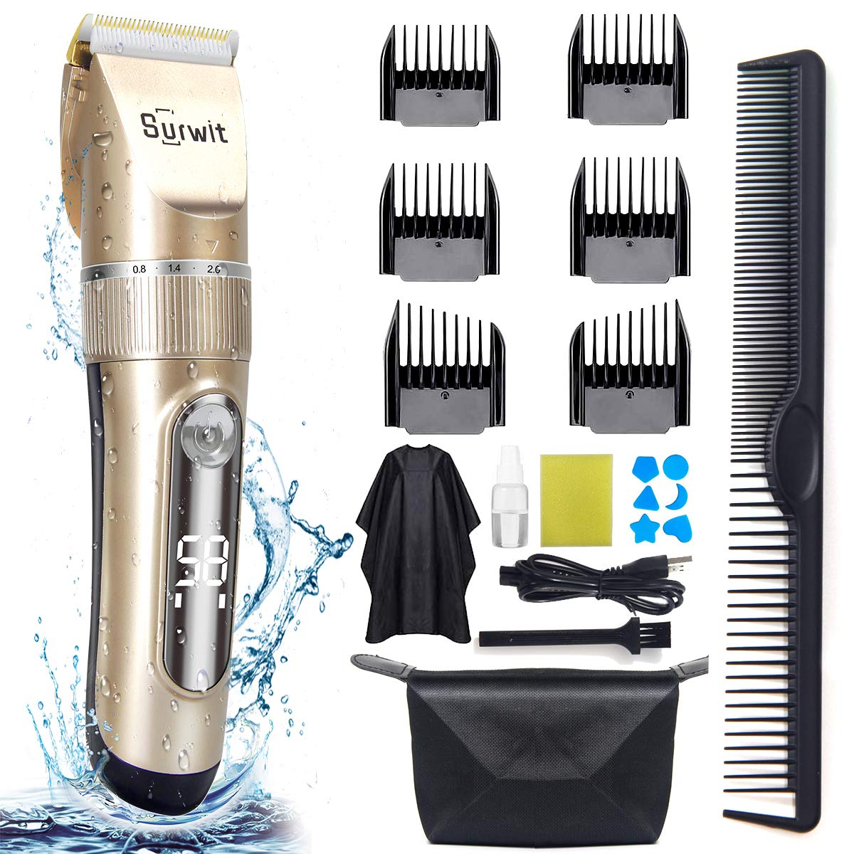 Amazon Com Cordless Hair Clippers For Men Surwit Professional Hair Clippers Trimmer For Hair Cut Ipx7 Waterproof Barber Clippers Usb Electric Rechargeable Grooming Kit With Extra 19 Accessories Beauty
