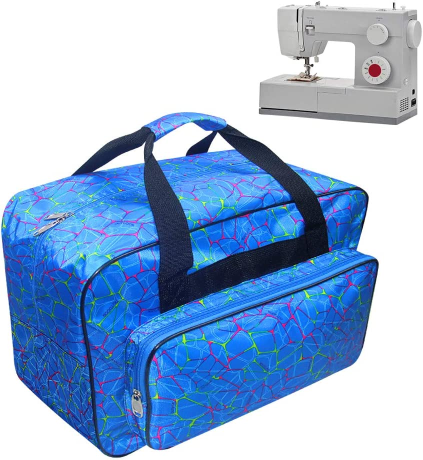 TLBTEK Blue Sewing Machine Carrying Case,Universal Canvas Carry Tote Bag with Shoulder Strap,Portable Padded Storage Dust Cover with Pockets for Sewing Machine