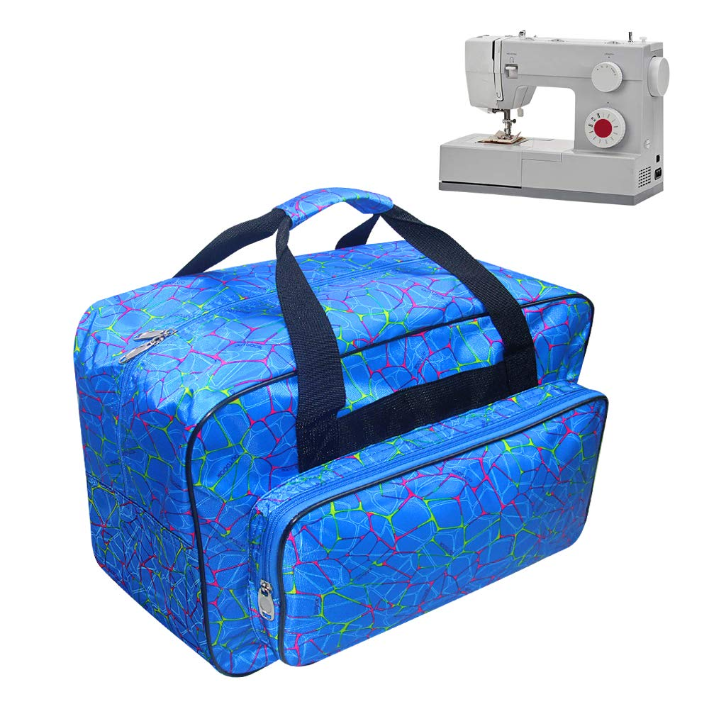 TLBTEK Blue Sewing Machine Carrying Case,Universal Canvas Carry Tote Bag with Shoulder Strap,Portable Padded Storage Dust Cover with Pockets for Sewing Machine by TLBTEK