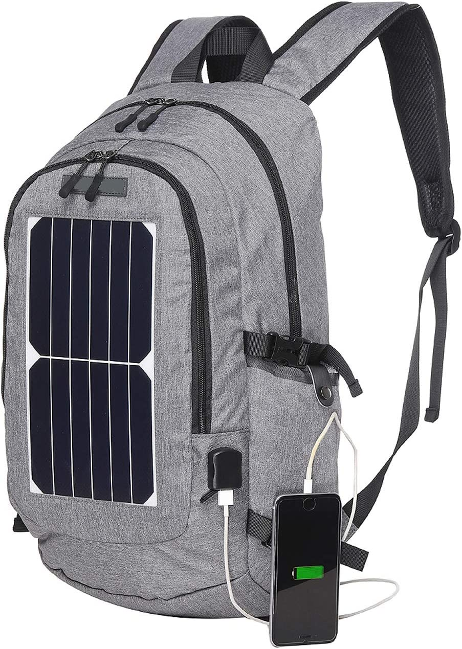 """10W Solar Panels Charger Power Bank Backpack 15.6/"""" Laptop Notebook Unisex Bag"""