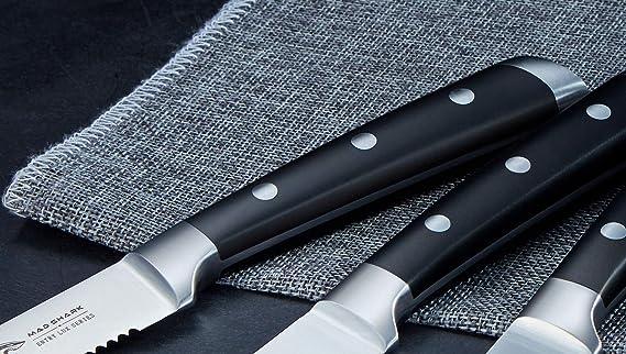 MAD SHARK Cuchillos para Carne Juego de 4 Cuchillos para Carne de 4,5 Pulgadas, Acero Inoxidable de Alto Carbono Alemán con Mango Ergonómico, para la ...