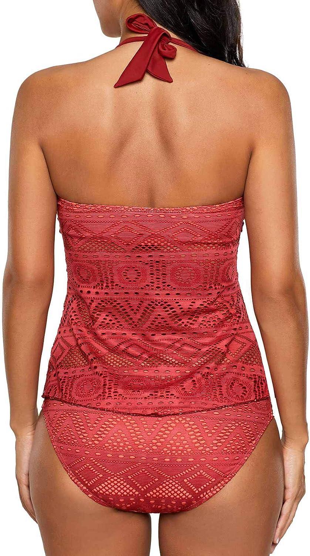 Xuan2Xuan3 Womens Tankini Swimsuit Bikini Set Halter Neck Lace Two Piece Swimwear Monokini Bathing Suit Swim Suit Red