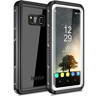 outlet store 9b25e ddb97 Temdan Samsung Galaxy S8 Waterproof Case Built in Screen Protector  Shockproof Waterproof Case for Samsung Galaxy S8 (5.8inch)—BLACK&WHITE/CLEAR
