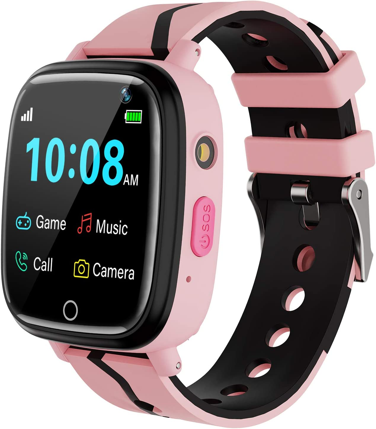 a smartwatch in combination of black and pink for girls
