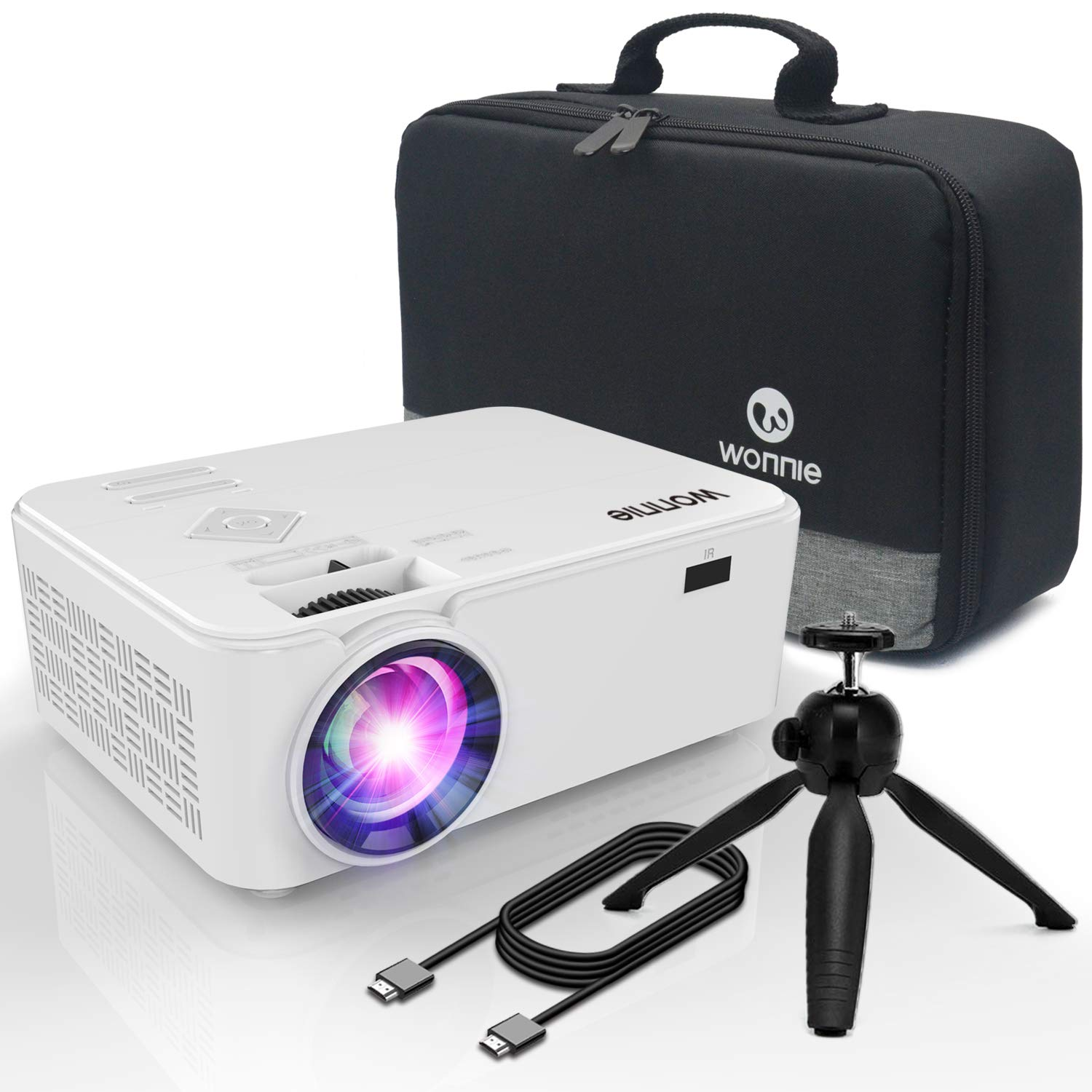 WONNIE Bluetooth Projector, Portable LCD Projector 2600 Lumens with Carrying Bag and Tripod, Compatible with Smartphone, TV Stick,Roku, PS4, Xbox, Full HD 1080P Supported