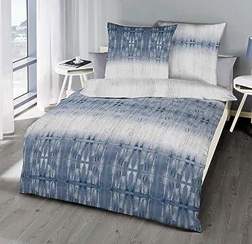 Kaeppel Mako Satin Bettwäsche 135x200cm 2 Tg Symmetry Indigo Blau