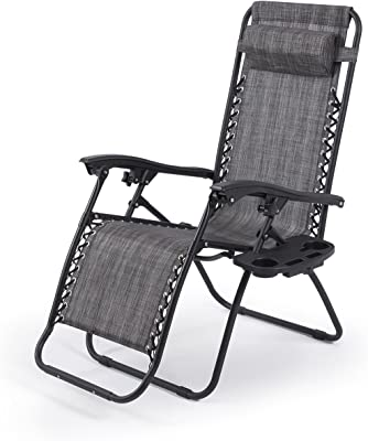 Globe House Products GHP Pair of Gray 600D UV-Resistant 300Lbs Capacity Zero Gravity Lounge Chairs