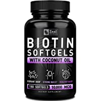 Pure Biotin 10000mcg + Organic Coconut Oil (180 Softgels | 10,000mcg) 6 Month Supply Biotin Supplement for Hair Growth + Skin and Nail Growth - Biotin Pills Hair Nails and Skin Vitamins for Women &Men