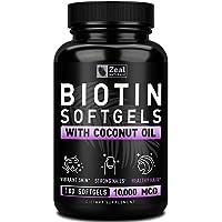 Pure Biotin 10000mcg + Organic Coconut Oil (180 Softgels   10,000mcg) 6 Month Supply Biotin Supplement for Hair Growth + Skin and Nail Growth - Biotin Pills Hair Nails and Skin Vitamins for Women &Men