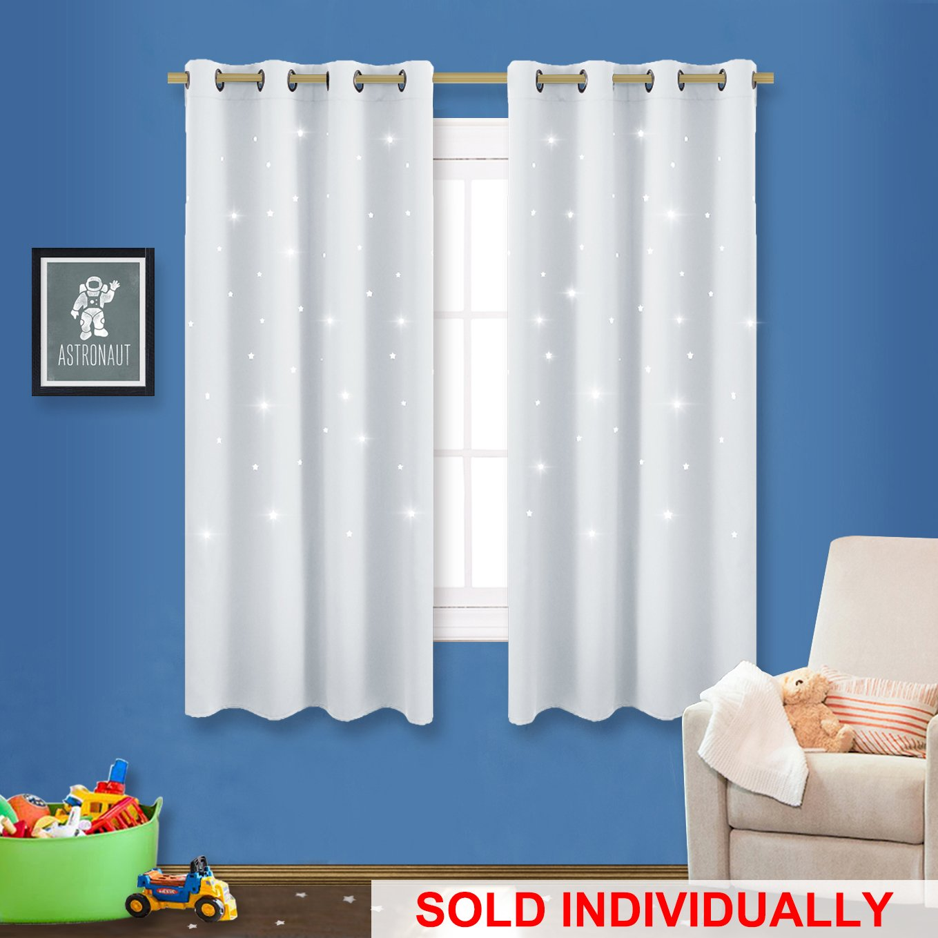 NICETOWN Room Darkening Curtain Panel - Zodiac Constellation Drape with Star Cut Out Design