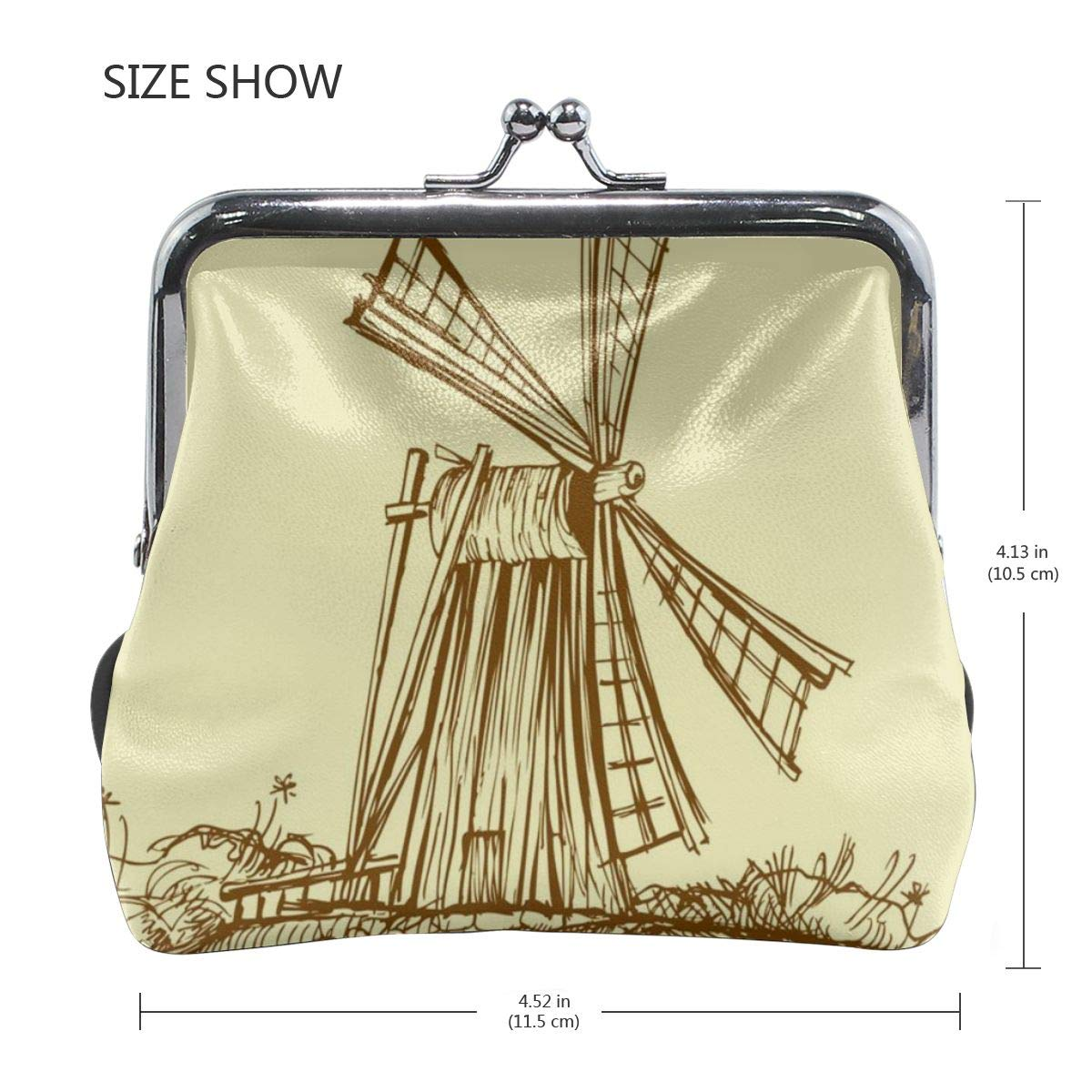 Yunshm Old Mill Windmill Yellow Background Personalized Leather Classic Floral Coin Purse Clutch Pouch Wallet For Womens