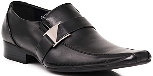 c132020d67d3 Enzo Romeo Stone Men's Dress Loafers Elastic Slip on with Buckle ...