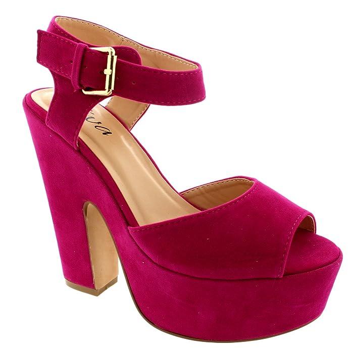 Mujer Correa Tobillo Zapatos Plataforma Tacones Faux Gamuza Sandalias   Amazon.es  Zapatos y complementos d2e1731d9ee5