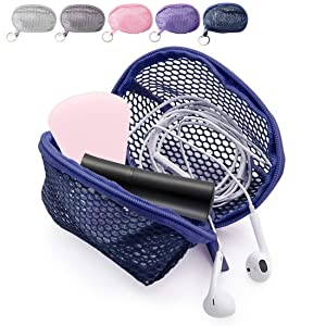 Kalevel Mesh Makeup Sponge Bag Mini Travel Cosmetic Pouch Sponge Blender Case Container for Women with Zipper Keychain (Blue)