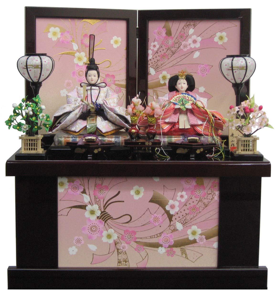 [雛人形 収納飾り]間口60cm 小三五親王(金襴衣装) 金彩リボン桜結び収納 毬桜に硯の道具   B07N46V8BR