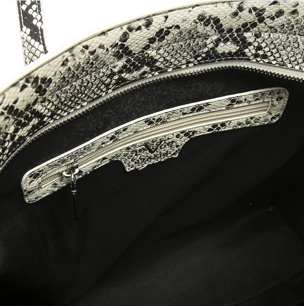19V69 Italia - Tasche mit zwei Schultergriffen, Python-Druck Bianco