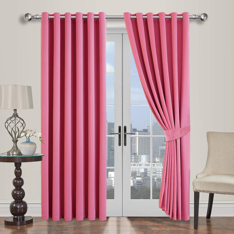 Oxford Homeware Blackout Curtains Bedroom Eyelet Thermal Insulated Noise Reducing Living Room Window Curtain Pair Panels 117x137cm 2 Tiebacks Beige, 46x54