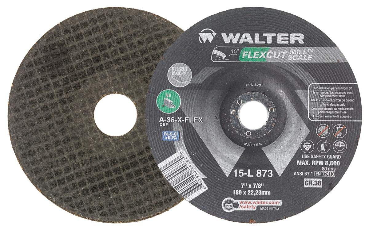 Angle and Die Grinder Wheels Abrasive Wheel with Arbor Hole Walter 15L843 FLEXCUT Mill Scale/Flexible Grinding Wheel - A-36-FLEX Grit Pack of 25 4-1//2 in