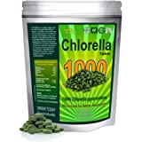 Chlorella Tablets (Mega-pack 1000 tablets). Organic, raw, non-GMO. 100% Pure Chlorella Pyrensoidosa. Green Superfood Supplement. High protein, chlorophyll & nucleic acids. No preservatives or fillers