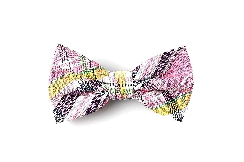 Mens Pink Multi Check Design Bowtie