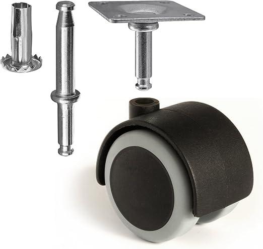 "Shepherd Hard Wheel Stem Caster 2-1//2/"" Twin Wheel for Wood Leg"