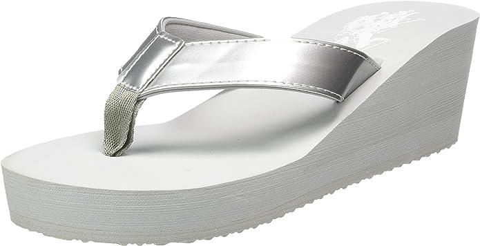 Silver SIL 052 US 7.5 Womens Flip Flop Sandals U.S.POLO ASSN