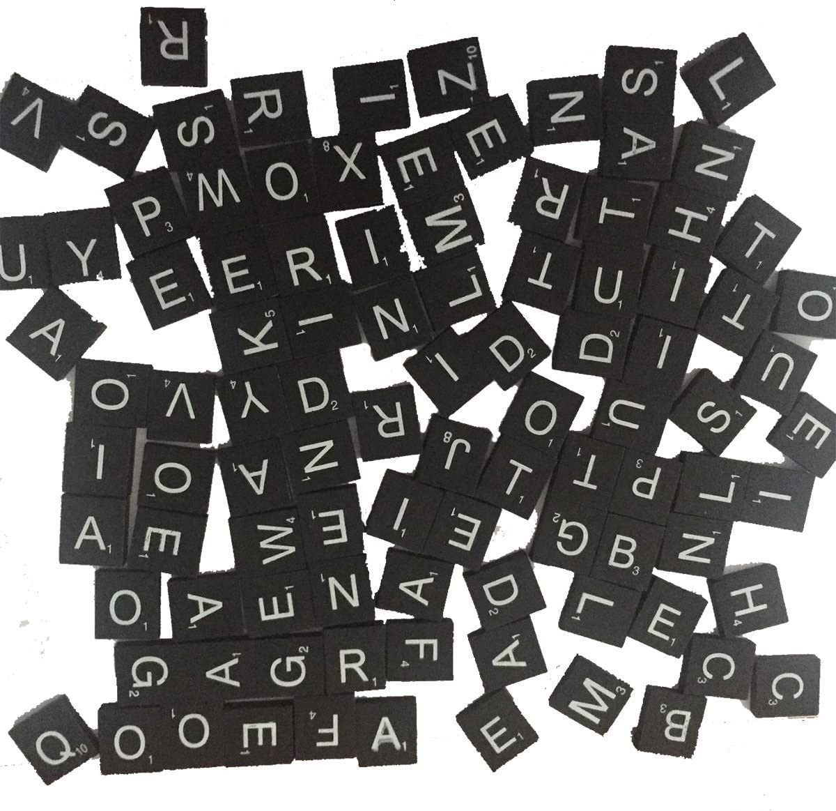 100 Wood Letter Scrabble Tiles - Black Color - 1 Complete Sets - Game Replacement Crafts Weddings Scrapbooking 71tg4nXhPtL
