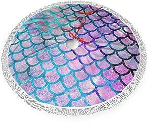 Mermaid Scales with Galaxy Christmas Tree Skirt 48